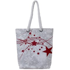 Christmas Star Snowflake Full Print Rope Handle Tote (small)
