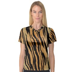 Animal Tiger Seamless Pattern Texture Background V Neck Sport Mesh Tee