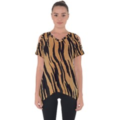Animal Tiger Seamless Pattern Texture Background Cut Out Side Drop Tee