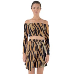 Animal Tiger Seamless Pattern Texture Background Off Shoulder Top With Skirt Set