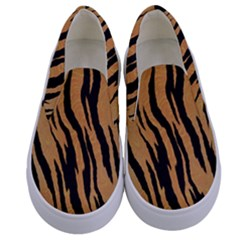 Animal Tiger Seamless Pattern Texture Background Kids  Canvas Slip Ons