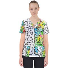 Brain Mind Psychology Idea Hearts Scrub Top