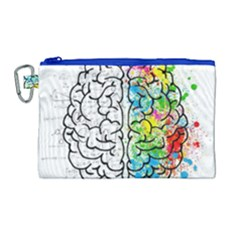 Brain Mind Psychology Idea Hearts Canvas Cosmetic Bag (large)