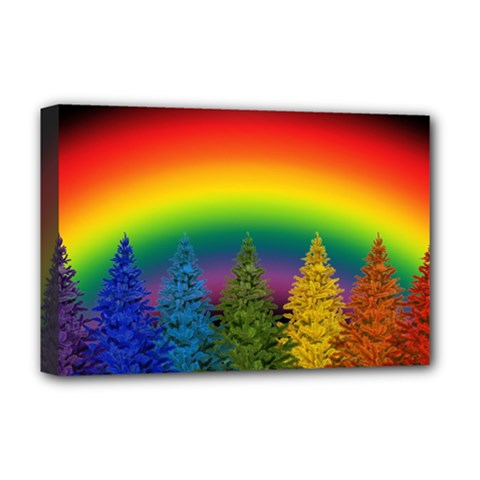 Christmas Colorful Rainbow Colors Deluxe Canvas 18  X 12   by BangZart