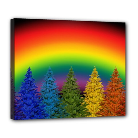 Christmas Colorful Rainbow Colors Deluxe Canvas 24  X 20   by BangZart