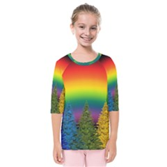 Christmas Colorful Rainbow Colors Kids  Quarter Sleeve Raglan Tee