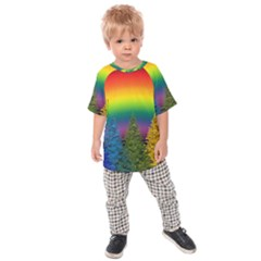Christmas Colorful Rainbow Colors Kids Raglan Tee