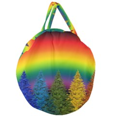 Christmas Colorful Rainbow Colors Giant Round Zipper Tote