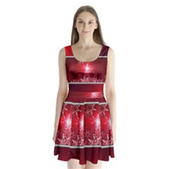 Christmas Candles Christmas Card Split Back Mini Dress