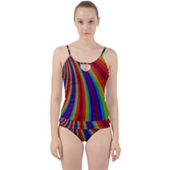 Abstract Pattern Lines Wave Cut Out Top Tankini Set