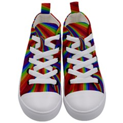 Abstract Pattern Lines Wave Kid s Mid-top Canvas Sneakers