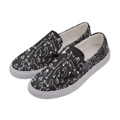 Arrows Board School Blackboard Women s Canvas Slip Ons by BangZart
