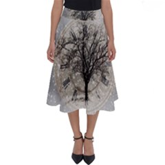 Snow Snowfall New Year S Day Perfect Length Midi Skirt