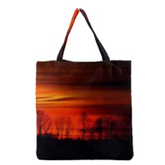 Tree Series Sun Orange Sunset Grocery Tote Bag by BangZart