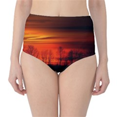 Tree Series Sun Orange Sunset High Waist Bikini Bottoms