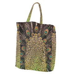Peacock Feathers Wheel Plumage Giant Grocery Zipper Tote