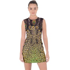 Peacock Feathers Wheel Plumage Lace Up Front Bodycon Dress