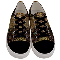 Peacock Feathers Wheel Plumage Men s Low Top Canvas Sneakers
