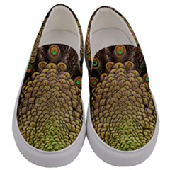 Peacock Feathers Wheel Plumage Men s Canvas Slip Ons