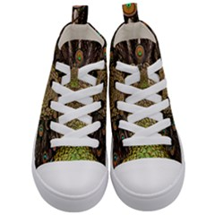 Peacock Feathers Wheel Plumage Kid s Mid Top Canvas Sneakers