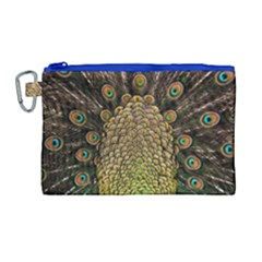 Peacock Feathers Wheel Plumage Canvas Cosmetic Bag (large)