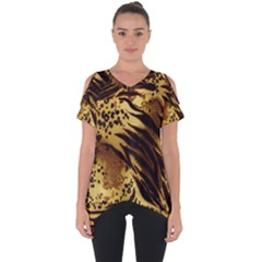 Pattern Tiger Stripes Print Animal Cut Out Side Drop Tee