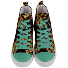 Pattern Tiger Stripes Print Animal Women s Mid Top Canvas Sneakers