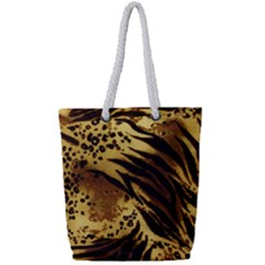 Pattern Tiger Stripes Print Animal Full Print Rope Handle Tote (small) by BangZart
