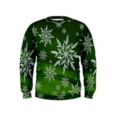 Christmas Star Ice Crystal Green Background Kids  Sweatshirt