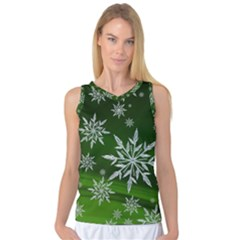 Christmas Star Ice Crystal Green Background Women s Basketball Tank Top
