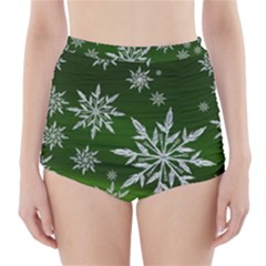 Christmas Star Ice Crystal Green Background High-waisted Bikini Bottoms by BangZart