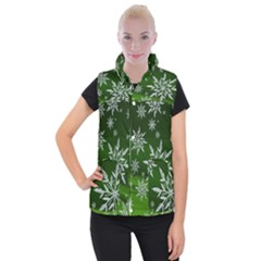 Christmas Star Ice Crystal Green Background Women s Button Up Puffer Vest