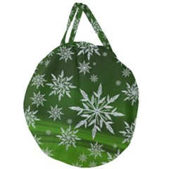 Christmas Star Ice Crystal Green Background Giant Round Zipper Tote