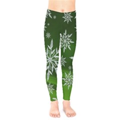 Christmas Star Ice Crystal Green Background Kids  Legging by BangZart