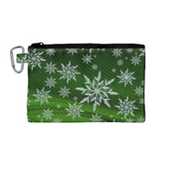 Christmas Star Ice Crystal Green Background Canvas Cosmetic Bag (medium)