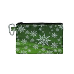 Christmas Star Ice Crystal Green Background Canvas Cosmetic Bag (small)