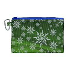 Christmas Star Ice Crystal Green Background Canvas Cosmetic Bag (large) by BangZart