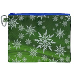 Christmas Star Ice Crystal Green Background Canvas Cosmetic Bag (xxl) by BangZart