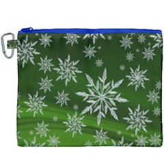 Christmas Star Ice Crystal Green Background Canvas Cosmetic Bag (xxxl)