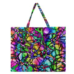 Network Nerves Nervous System Line Zipper Large Tote Bag by BangZart
