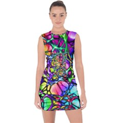 Network Nerves Nervous System Line Lace Up Front Bodycon Dress