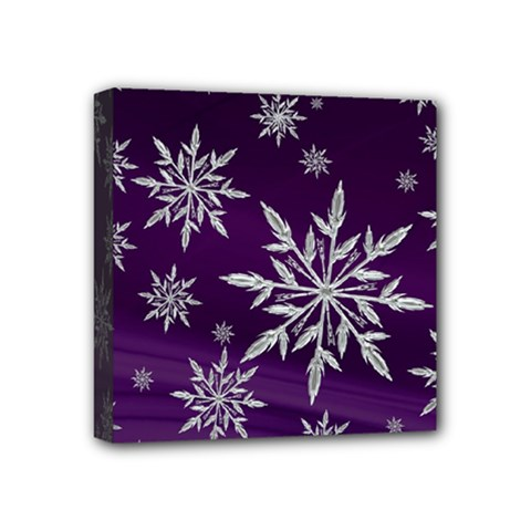 Christmas Star Ice Crystal Purple Background Mini Canvas 4  X 4