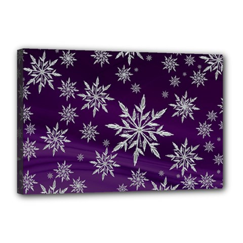 Christmas Star Ice Crystal Purple Background Canvas 18  X 12  by BangZart