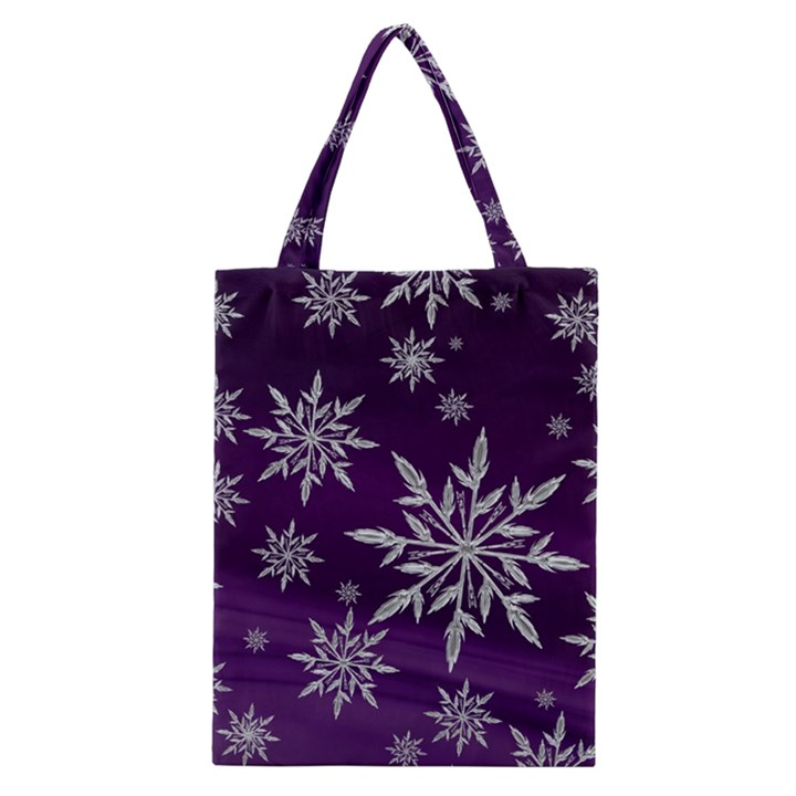 Christmas Star Ice Crystal Purple Background Classic Tote Bag