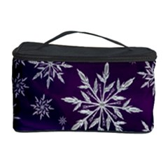 Christmas Star Ice Crystal Purple Background Cosmetic Storage Case by BangZart