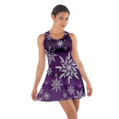 Christmas Star Ice Crystal Purple Background Cotton Racerback Dress