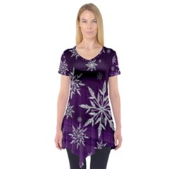 Christmas Star Ice Crystal Purple Background Short Sleeve Tunic