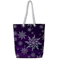 Christmas Star Ice Crystal Purple Background Full Print Rope Handle Tote (small)