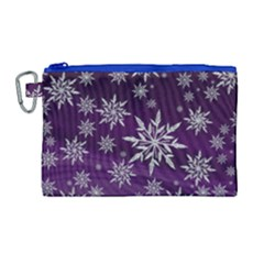 Christmas Star Ice Crystal Purple Background Canvas Cosmetic Bag (large) by BangZart