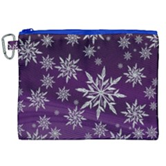 Christmas Star Ice Crystal Purple Background Canvas Cosmetic Bag (xxl)